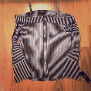 NWT A. Beyer Striped Shoulder Blouse